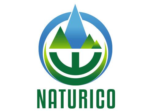 W Logo mit Bergen im Grün