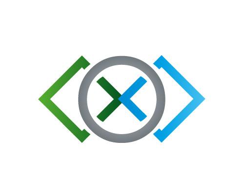 Zwei Rechtecke und Kreis Logo