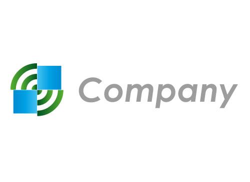 Zwei Rechtecke und Kreise Logo