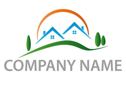 Zwei Häuser und Sonne Logo