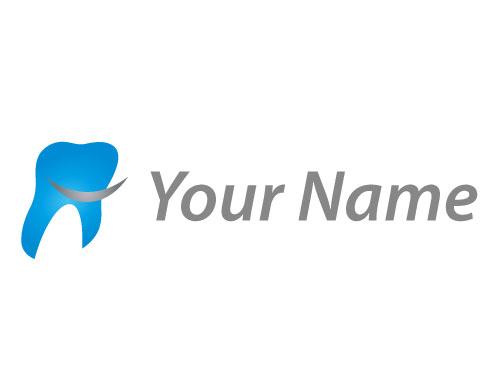 Zähne, Zahn in Blau und Strich Logo - logomarket