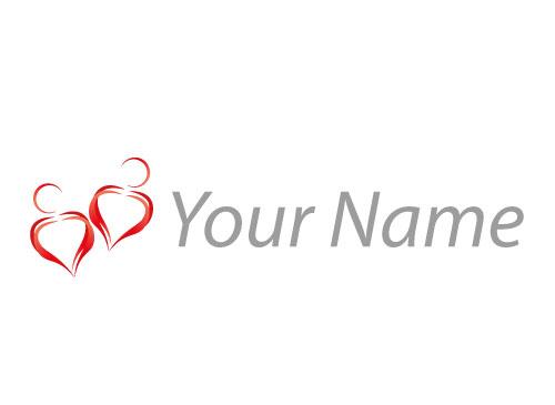 Zwei Personen, Herz, Paar, Logo