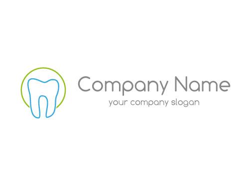 Ökozähne, Zähne, Zahn, Zahn in blau und Kreis, Logo