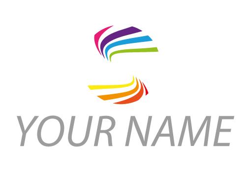 Zwei Spirale in Regenbogenfarben, Maler Logo