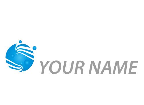 Zweifarbig, Kreis mit Wellen, Vier Kugel, Logo