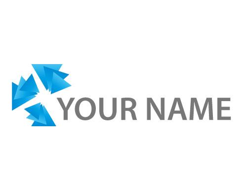 Zweifarbig, Dreiecke, Media, Viele Dreiecke in blau, Logo