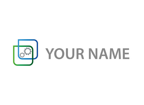 Zwei Rechtecke und Zahnräder Logo