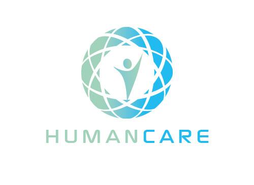 Zeichen, zweifarbig, Zeichnung, Mensch, Globus, Faceten, Human, Logo