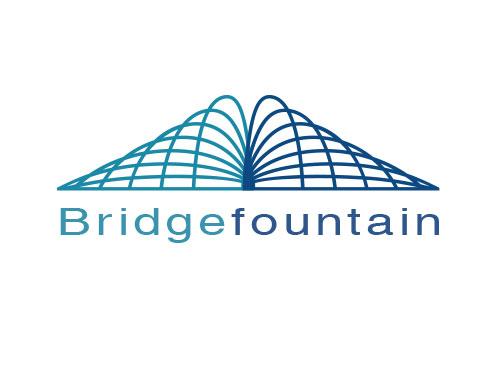 Zeichen, zweifarbig, Zeichnung, Brücke, Fontäne, Logo