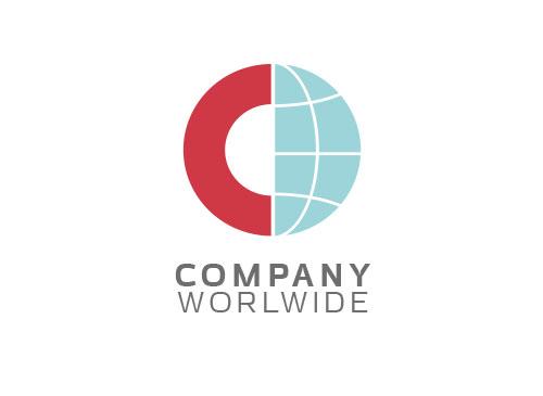 Zeichen, zweifarbig, Signet, Symbol, Welt, Erde, C, Logistik, Transport, Logo