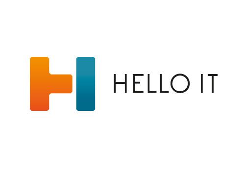 Zeichen, zweifarbig, zwei Segmente, T, I, H, Logo