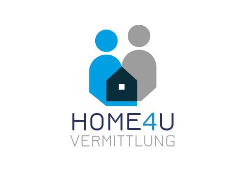 Zeichnung, Zweifarbig, Signet, Symbol, Logo, Menschen, Haus, Immobilien, Vermittlung