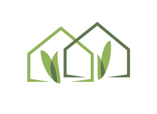 Öko, Zeichen, zweifarbig, Zeichnung, zwei Häuser, Immobilien, Logo