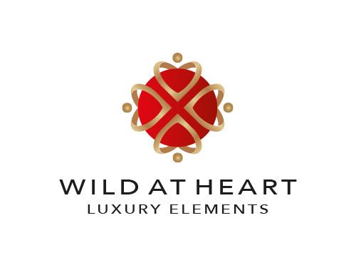 Zeichen, Skizze, Signet, Logo, Gruppe, Menschen, Herzen, Gold, Luxus ...