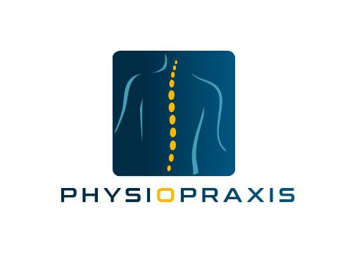 Zeichen, zweifarbig, Signet, Symbol, Wirbelsäule, Orthopädie, Physiotherapie, Chiropraktiker, Logo