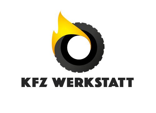 Zeichen, Signet, Logo, Reifen, Flamme, KFZ-Werkstatt