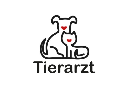 Tierarzt Logo, Hund, Katze, Herzen