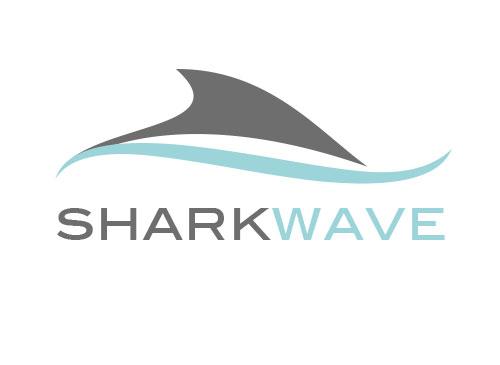 Zeichen, zweifarbig, Signet, Symbol, Hai, Flosse, Welle, Wasser, Sport, Logo