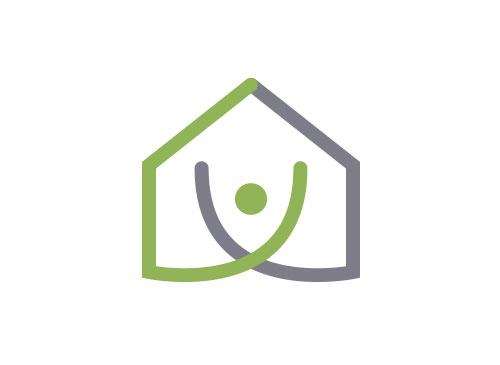 Ökologie, Öko, Zeichen, zweifarbig, Zeichnung, Mensch, Haus, Logo