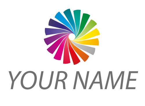Zeichen, Zeichnung, Spirale in Regenbogenfarben Logo