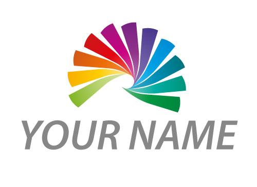 Zeichen, Zeichnung, Spirale in Regenbogenfarben, Maler, Logo