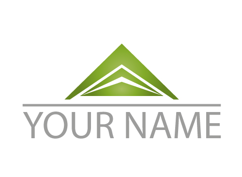 Zweifarbig, Dreiecke und Linie Logo