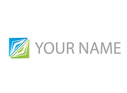 Zweifarbig, Rechteck aus Dreiecken, Logo