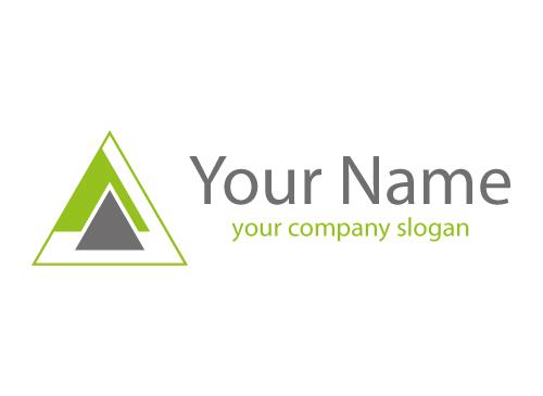 Zweifarbig, Dreiecke in grün und grau, Logo