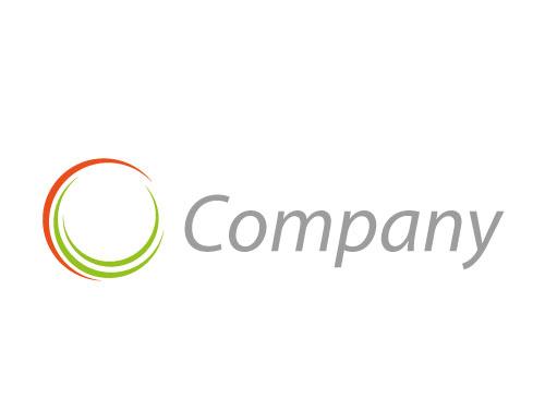 Zweifarbig, Zeichen, Kreis aus Halbkreise Logo