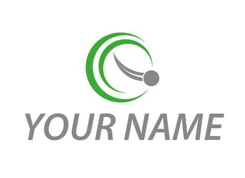 Zweifarbig, Zeichen, Kreise und Kugel in Bewegung Logo