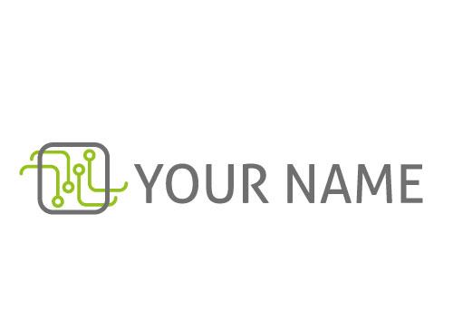 Rechteck und Linien in Grün Logo