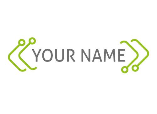 Vier grüne Linie mit Kreisen Logo