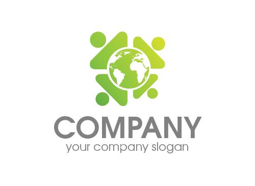ökologie, natur, erde, kugel, Menschen Logo