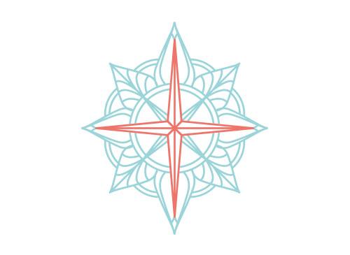 Zeichen, zweifarbig, Signet, Symbol, Stern, Kompassrose, Logo