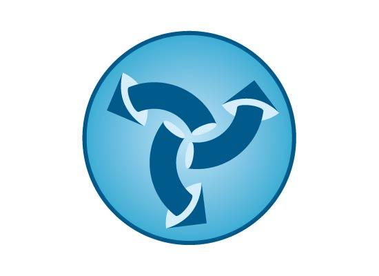 Logo Pfeile 3D rund auf Kreisfläche