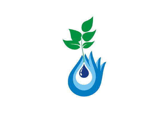 Wassertropfen mit einer Pflanze