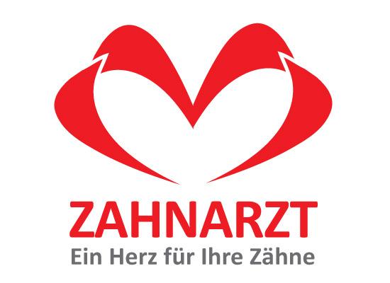 Zwei Zähne die ein Herz bilden - Zahnarzt Logo