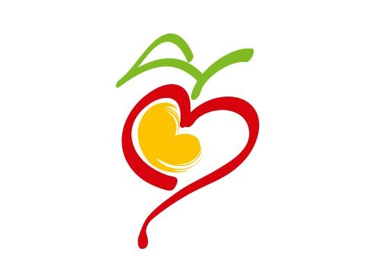 Zeichen, Apfel in Herzform Logo, Ernährungsberatung