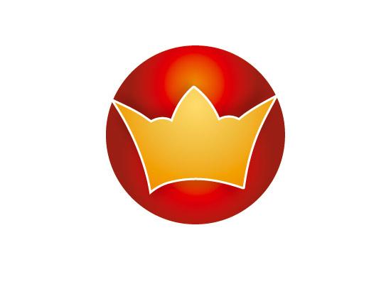 Goldene Krone im roten Kreis