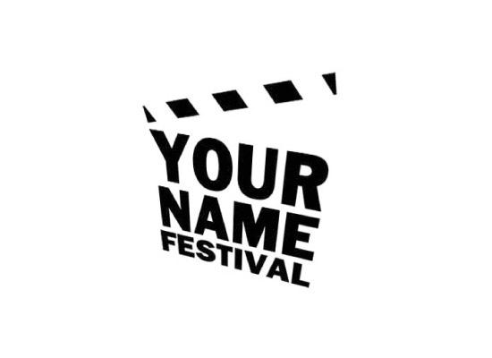 Perspektivische Filmklappe mit Typo