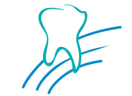 Zahn auf drei Linen -Logo für Zahnarzt