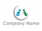 Zwei Personen, Info, Bildung, Logo