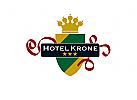 Krone Wappen Hotel Grün Gold Rot Sterne Heraldik Logo