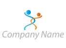 Zwei Personen, Menschen, Ineinander geschwungenes Paar Logo