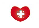 Rotes Herz mit medizinischem Kreuz