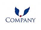 Zwei blaue Flügel für Transport- und Logistikunternehmen