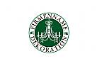 Siegel mit Kronleuchter, Firmenname kreisförmig umlaufend, für Antiquitäten, Dekoration, Raumausstattung