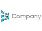 Viele blaue Rechtecke perspektivisch Logo