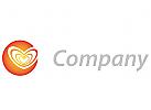 Stilisierte Drei Herzen im Kreis Logo