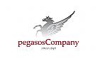 Pferd Pegasos Silber Grau Rot  Flügel Mähne Logo